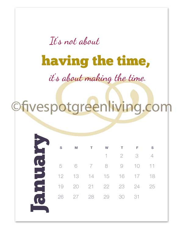 2014 Renew You Desk Calendar Free Printable for photo frames or cd cases
