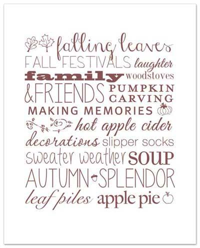 Autumn Love Free Printable