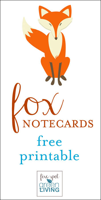 Fox Note Cards: Free Printable Woodland Fox Stationery
