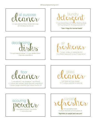 Green Cleaning Printable Labels