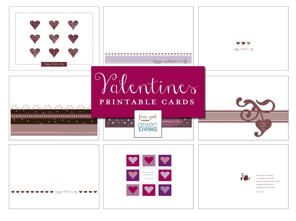 Nine Free Printable Valentine's Day Cards - FiveSpotGreenLiving.com