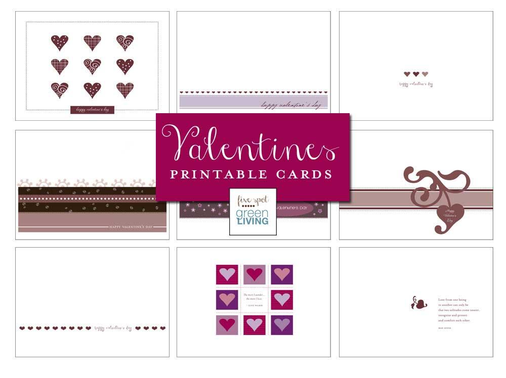 Nine Free Printable Valentine's Day Cards - FiveSpotGreenLiving.com