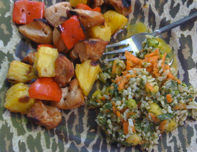 Healthy Foods: Kid-Friendly Chicken Pineapple Kabobs with Rice