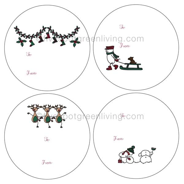 holiday labels - cartoon