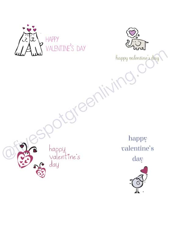 Free Printable Cards - Valentines for Kids - Easy, printable cards with cute pictures for kids. Add a note or just sign the name.