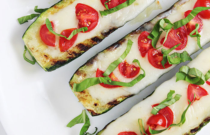 Grilled-Caprese-Zucchini-Boats 30 Healthy Appetizers for Summer BBQs and July 4th