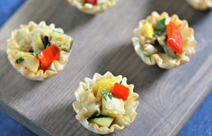 Grilled Garlic Veggie Tarts