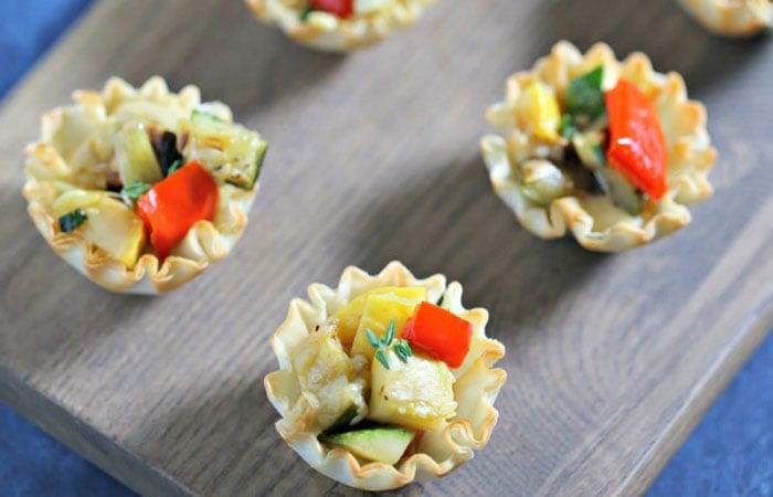 Grilled Garlic Veggie Tarts