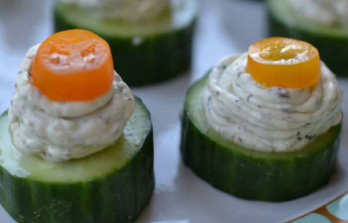 Herb-Cream-Cheese-Cucumber-Bites 30 Healthy Appetizers for Summer BBQs and July 4th