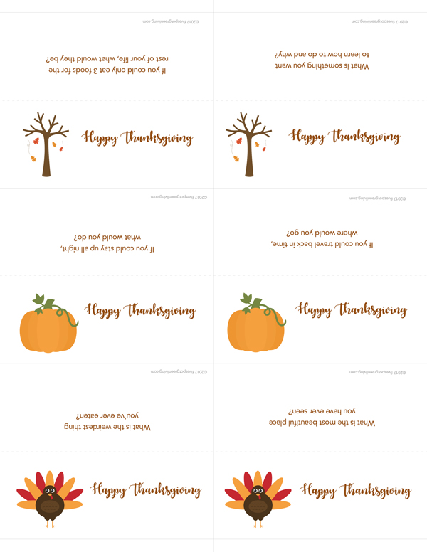 Printable Thanksgiving Place Cards with cutting marks