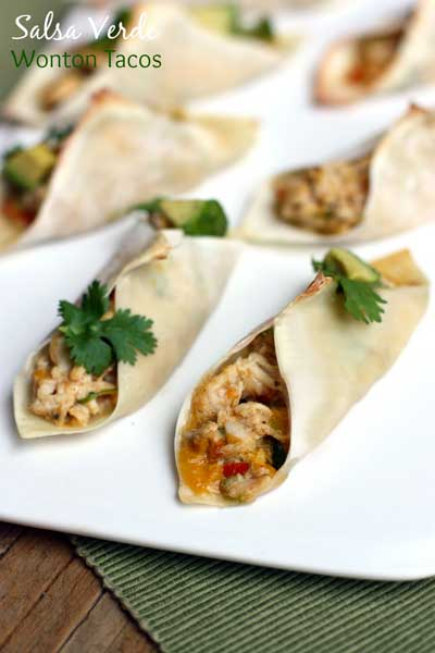 SalsaVerdeWontonTacos5 Make Ahead Healthy Appetizers