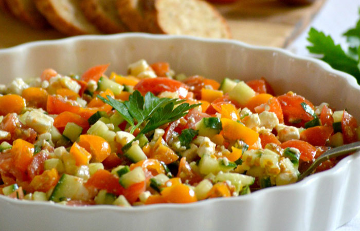Tomato-Cucumber-Feta-Appetizer 30 Healthy Appetizers for Summer BBQs and July 4th