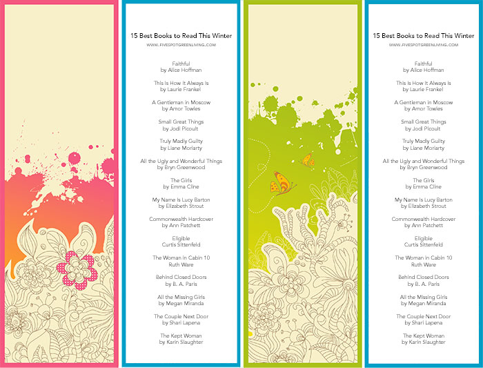 printable bookmarks with book list