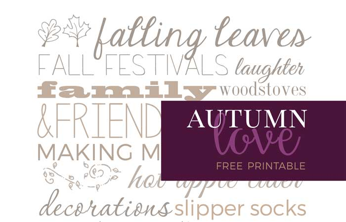Autumn Love Free Printable