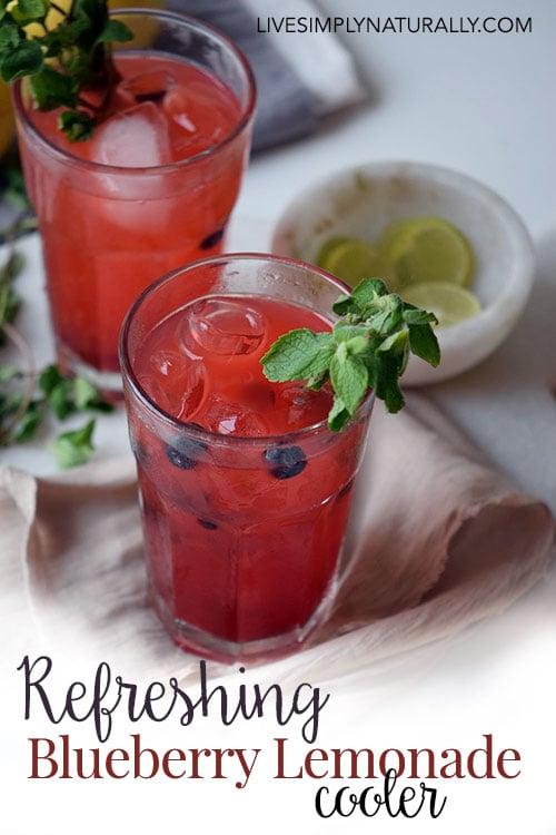 LiveSimplyNaturally.com Refreshing Blueberry Lemonade Cooler Recipe