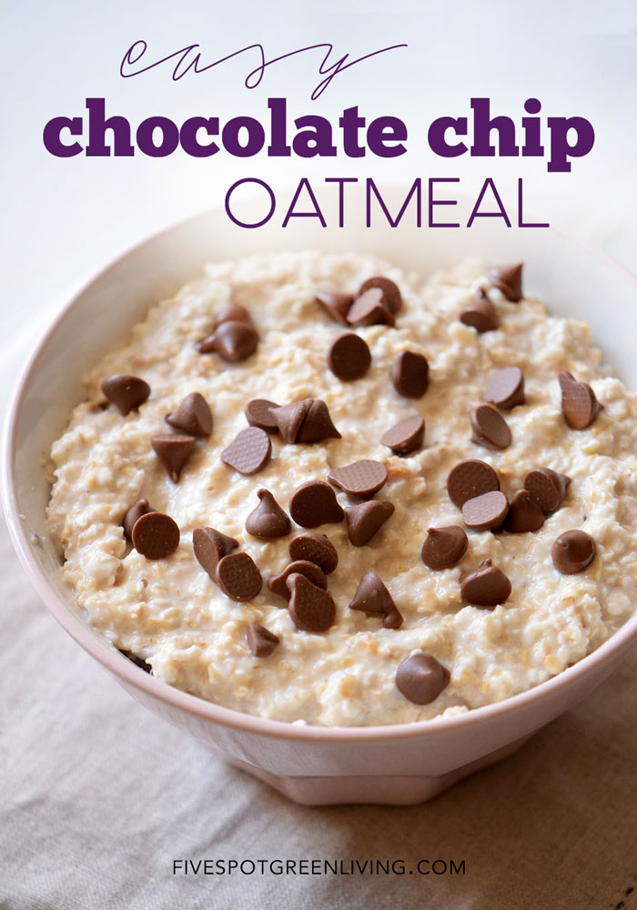 Looking for healthy recipes that can be easily put together the night before and ready to eat in the morning? Try this chocolate chip oatmeal recipe!