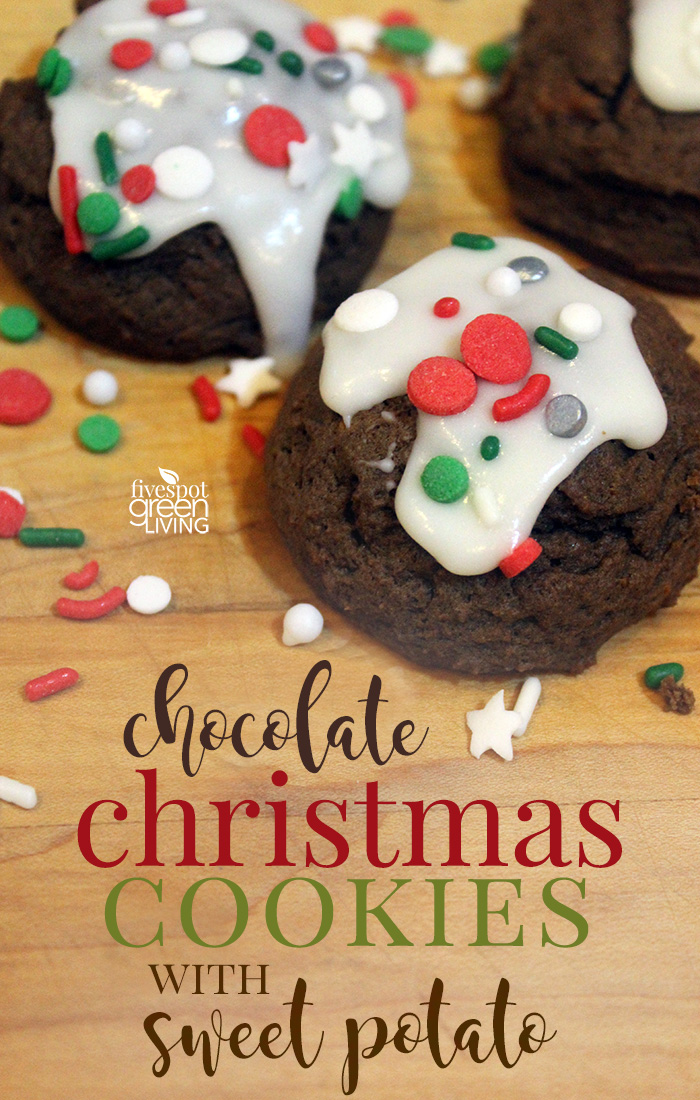 Delicious Glazed Chocolate Sweet Potato Christmas Cookies for a healthier holiday treat!