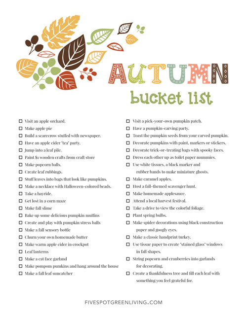 40 Fall Activities for Kids Bucket List Printable