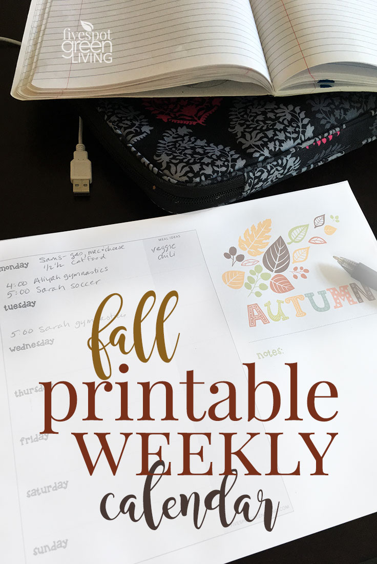 Use this fall printable weekly calendar to keep track of activities and to-do lists.