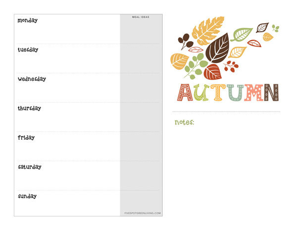 Fall printable weekly calendar for download