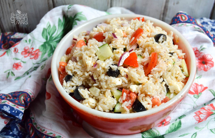 Healthy Greek Rice Salad Recipe for Lunch or Dinner