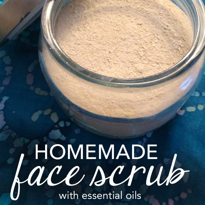 All Natural Homemade Face Scrub with Essential Oils at FiveSpotGreenLiving.com