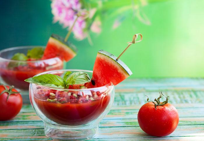 Watermelon Tomato Gazpacho Soup