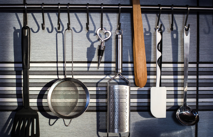 Kitchen wall utensil organization