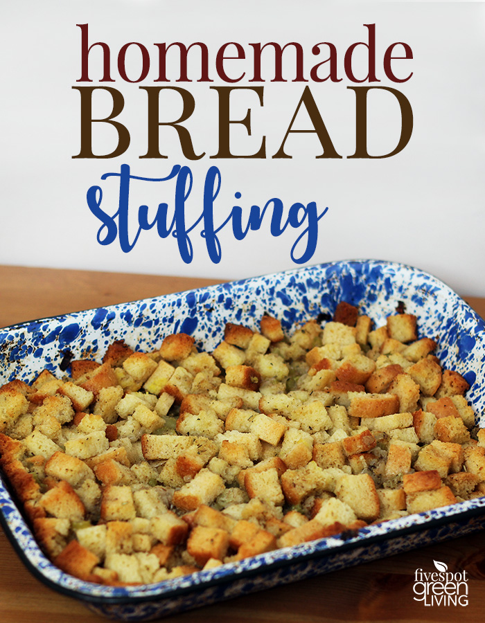 homemade bread stuffing in marbled blue and white baking pan