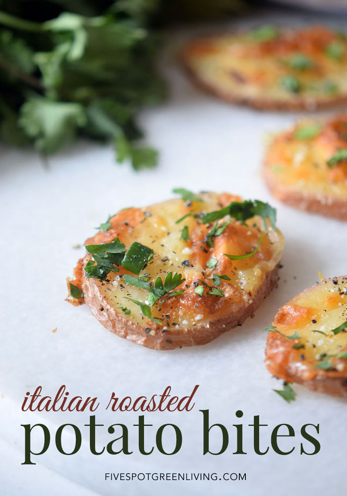 Italian Roasted Potato Bites Recipe for your healthy appetizer arsenal on Super Bowl Sunday!