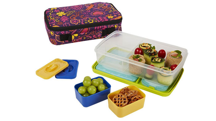 Fit & Fresh Kids' Bento Box Lunch Kit with Reusable BPA-Free Removable Plastic Containers