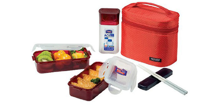 Lock&Lock Lunch Box Set with Red Bag and Water Bottle