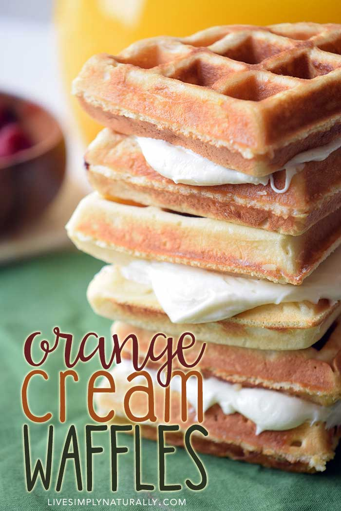 Make-Ahead Healthy Homemade Waffles with Orange Creme