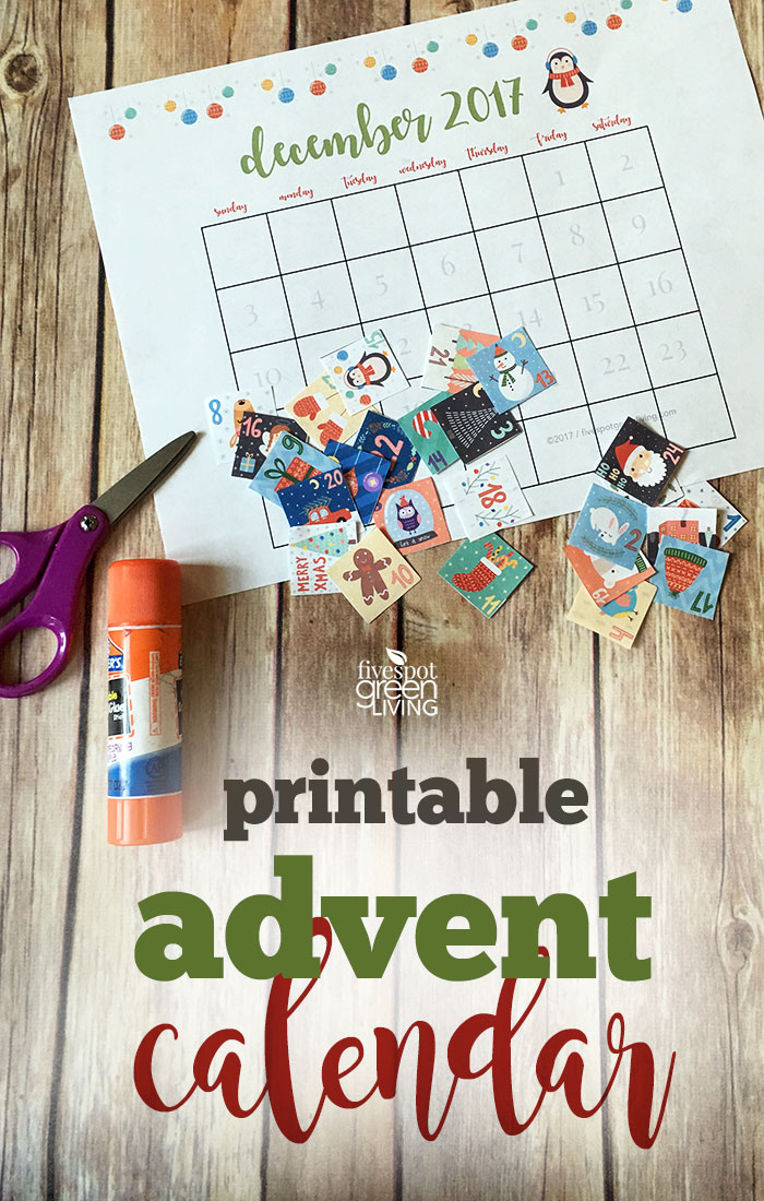 Free Printable Advent Calendar for Christmas 2017