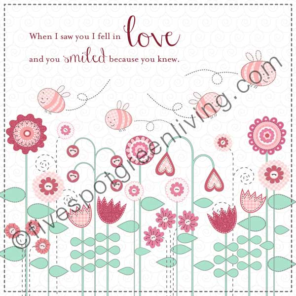 Valentine Cards: Love Quote with Bees, Hearts and Flowers