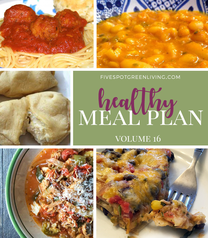 Healthy Meal Plan Weekly Volume 16 / Super Easy Spaghetti and Meatballs in the Crockpot / Quick and Easy Chicken Puffs / Slow Cooker Chicken Ratatouille Stew / Moroccan White Beans (Loubia) / Vegetarian Enchilada Casserole