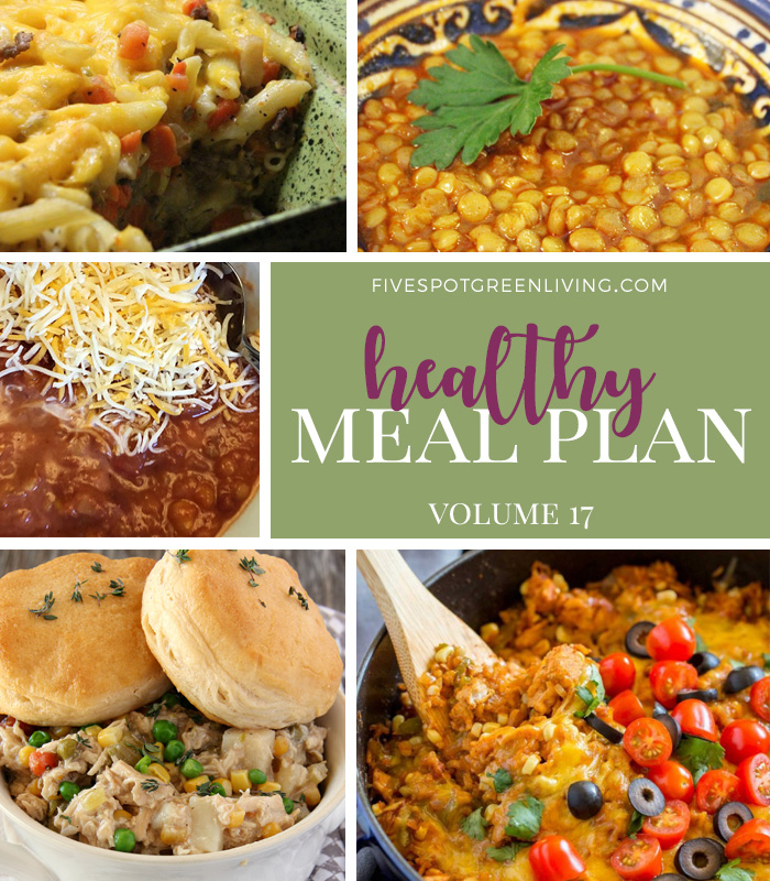 Healthy Meal Plan Weekly Volume 16 / Slow Cooker Chicken Pot Pie / Mexican Chicken and Rice / Ground Beef Casserole / Slow Cooker Red Lentil Vegetarian Chili