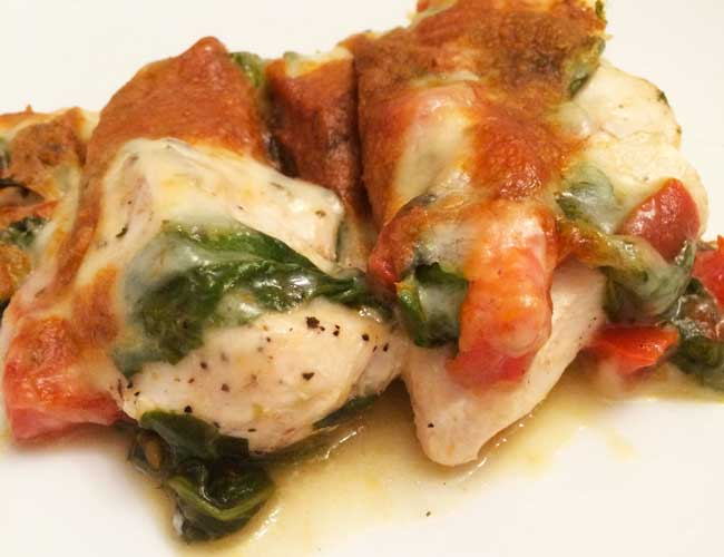Easy Cheesy Italian Chicken Healthy Recipe with Tomatoes and Spinach - Five Spot Green Living