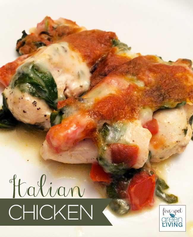 blog-recipe-italian-chicken-cover Easy Cheesy Italian Chicken Recipe with Tomatoes and Spinach