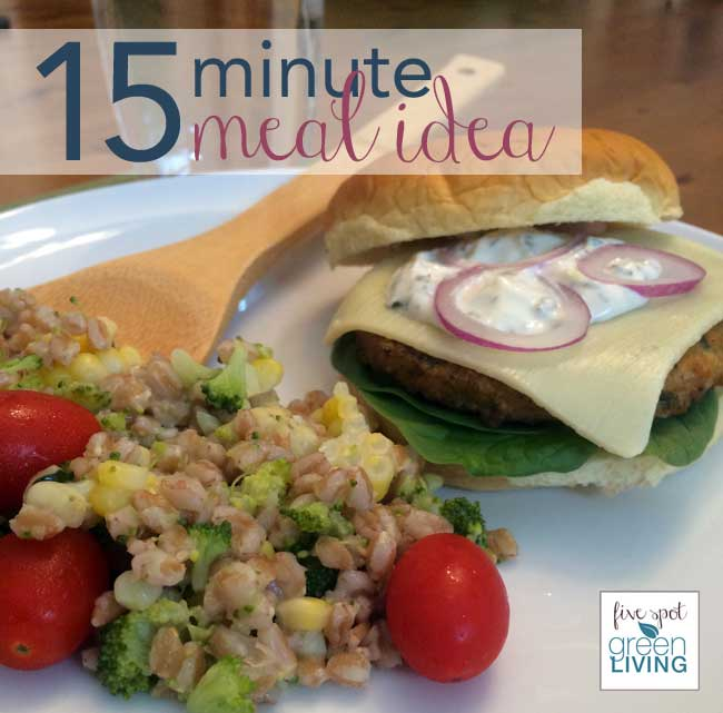 15 Minute Meal Idea: Mediterranean Chickpea Burger and Farro Salad
