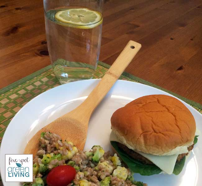 15 Minute Meal Idea: Mediterranean Chickpea Burger and Farro Salad