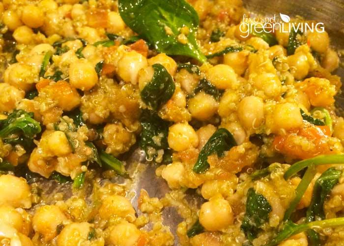 Quinoa Salad Recipe with Pesto and Chickpeas