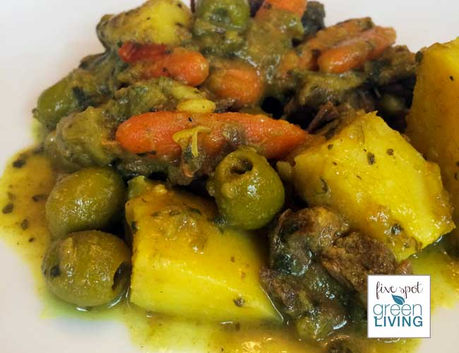 Hearty Moroccan Beef and Potato Stew Tagine with Olives - Five Spot Green Living