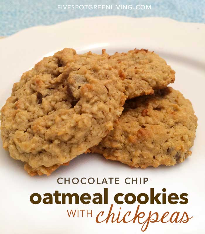 Oatmeal Chocolate Chip Cookies with Chickpeas | Vegan | Gluten Free