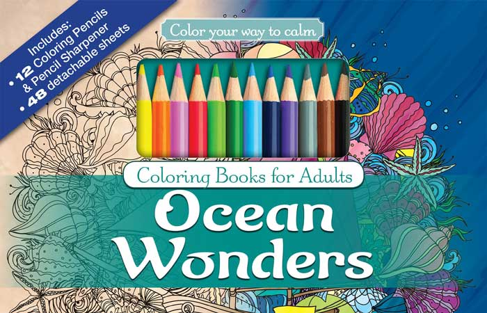 Ocean Wonders Adult Coloring Book Set With Colored Pencils
