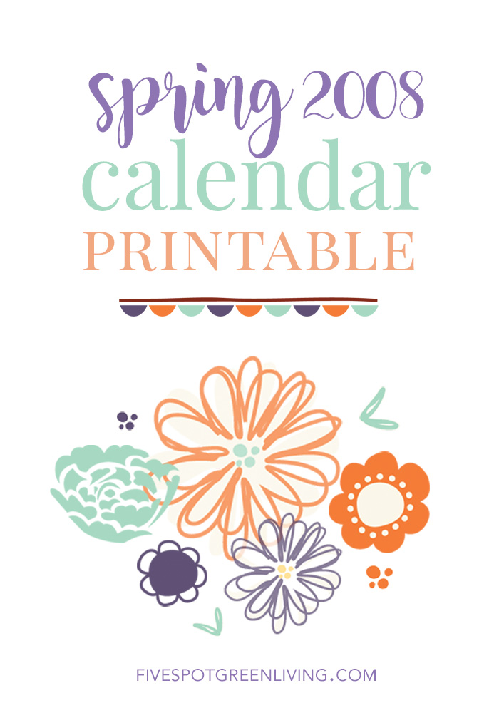 spring calendar printable