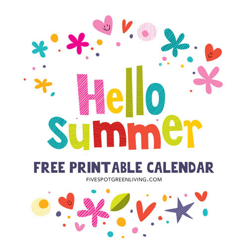 Hello Summer! Free Printable Calendar 2016