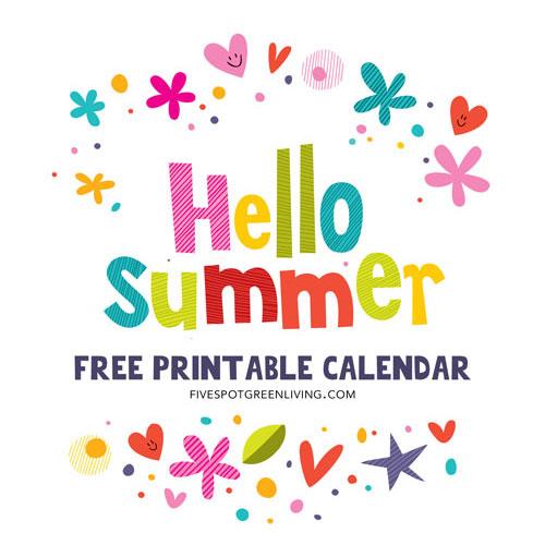 Hello Summer! Free Printable Calendar 2016