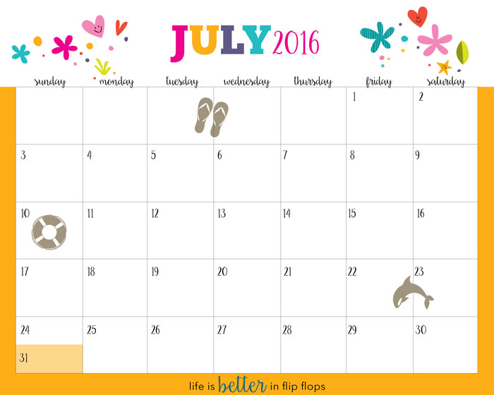 Hello Summer Free Printable Calendar   Five Spot Green Living