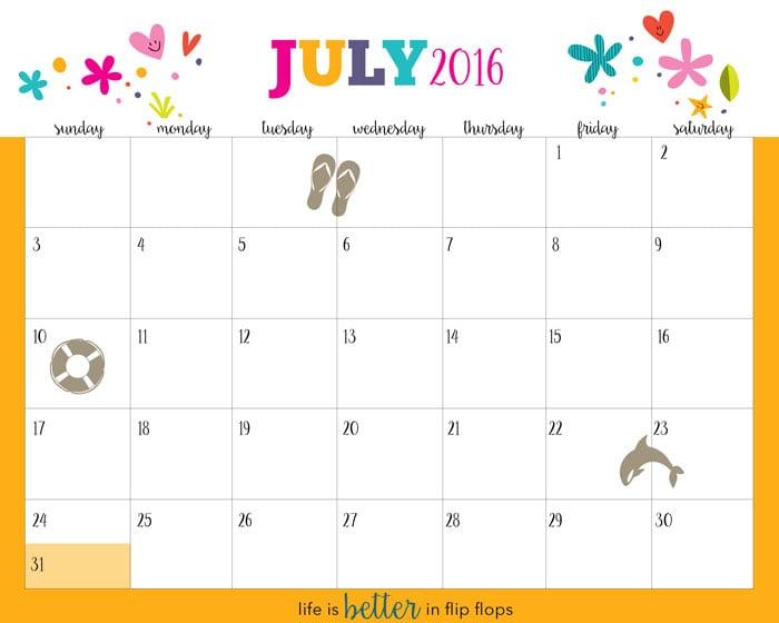 Free Printable Calendar July 2016